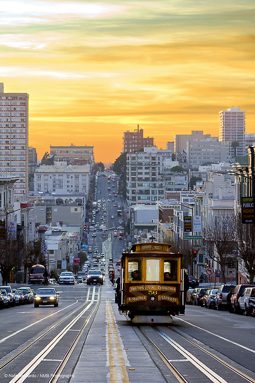 Sunset down California St., San Francisco California (by Nathaniel Bernardo)