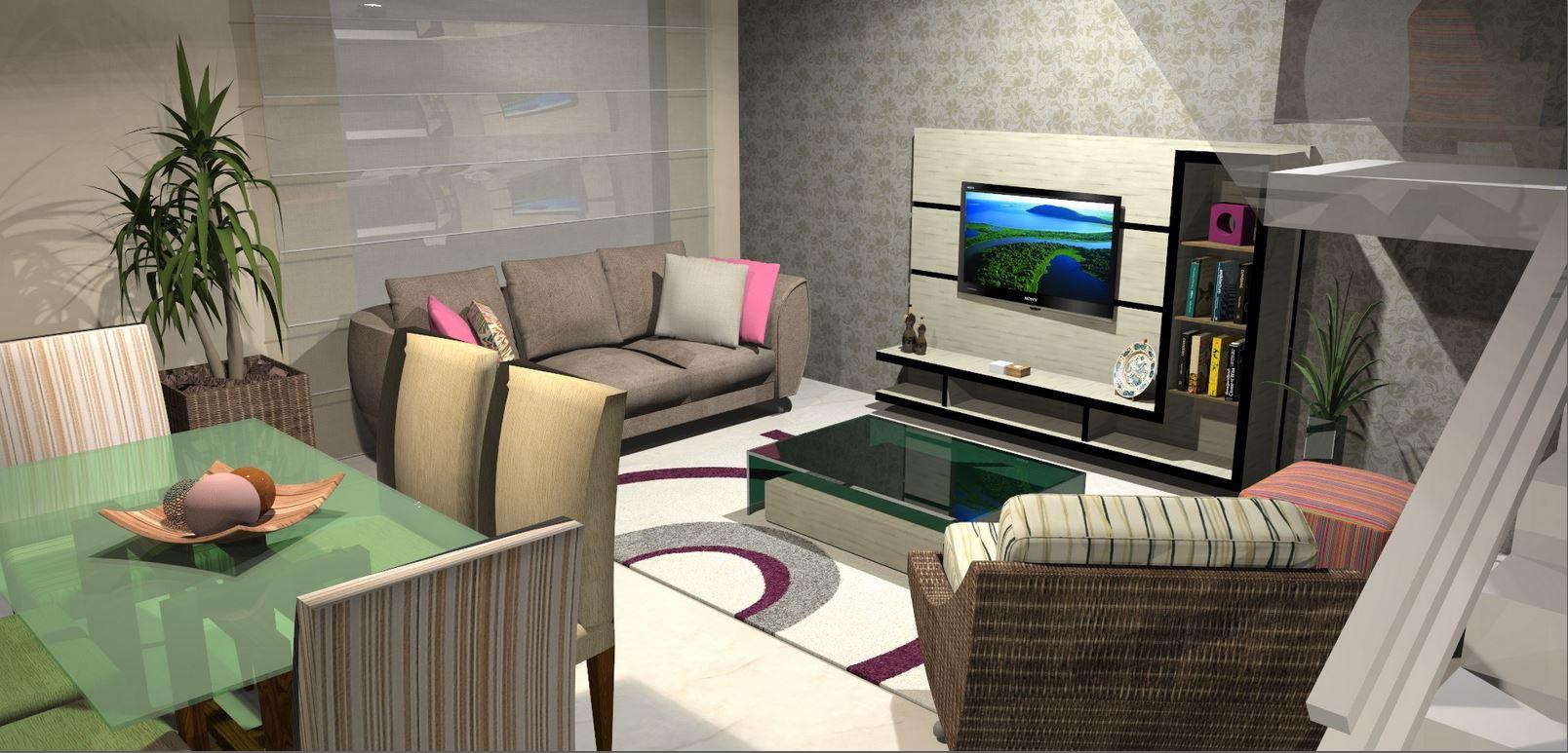 #1E67AD Projeto de Interiores – Sala Estar/Jantar Débora Bonetto 1608x773 píxeis em Decoração Sala De Estar Com Jantar